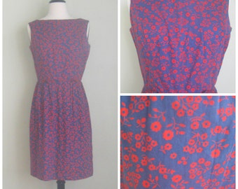 Navy Blue 60's Shift with Red Flowers