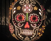 Handcrafted sugar skull table lamp