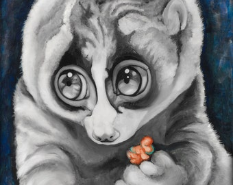 Slow Loris,  Fine Art Print Signed by Artist Jamie Rice, Home Decor for Animal Lovers