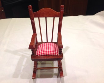Sharp Doll's Rocking Chair with Red Gingham Seat or Pin Cushion