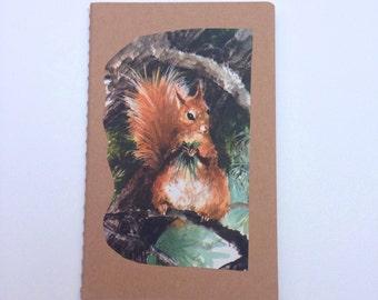 Notebook/ Vintage illustration Squirrel / journal/  Mothersday / For her