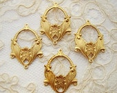 Ornate Art Nouveau Leaf & Flower Raw Brass Connector 4 Ring Chandelier Earring Dangle - 4