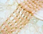 Faceted Matte Pink Opal Rosary Beaded Chain Brass Links 6mm Beads – 1 Ft.