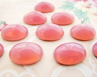 Rose Pink Opal 18x13mm Oval Glass Cabochons Flat Back Stones - 2
