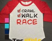 Race Kids Raglan Personalized Printed Tshirt, 3/4 sleeve, baseball shirt, crawl walk shirt, Toddler Raglan