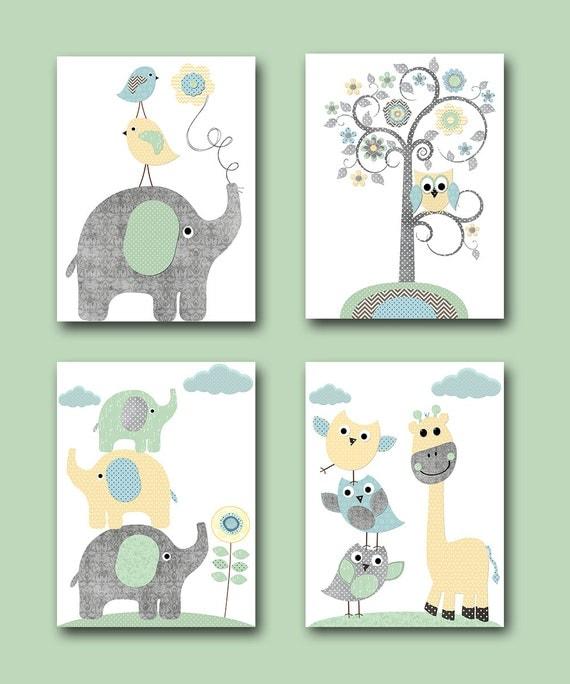 Kids gift kids art kids wall art baby boy nursery elephants - Wall decor for baby boy ...