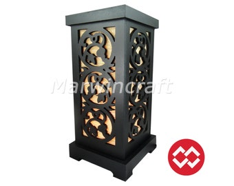 No Screw Design Asian Oriental Grape Wine Wood Carving Bamboo Art Bedside Table Lamp Wood Light Shades Furniture Living Bedroom Home Decor