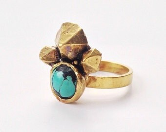 Turquoise Crystal Cluster Ring