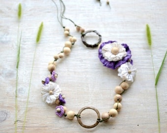 Teething necklace with coconut ring, Wrap Scrap flower, OOAK,Nursing necklace, Beige brown White, purple Lavender violet, Accessory to sling