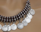Silver Link Gypsy Vintage Choker Coin necklace Native American Tribal Boho Choker Coin Silver Bohemian, Turkish Coin Necklace, Chic Necklace