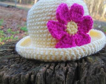 Rolled Brim Hat.Flower Brim Hat.Crochet Hat.Crochet Flower.Rolled Brim Hat.All Sizes,Rolled Brim Hat, adult,teen,children,babies,toddler