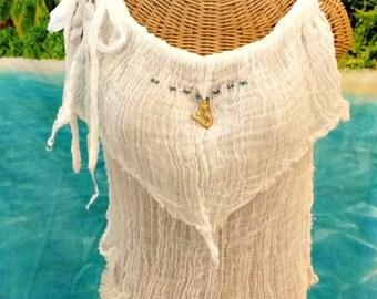 Mermaid Beaded Tank Top Short Gold Purple Blue Cotton Gauze Spa Pool Ivory Cover Up Womens Fashion