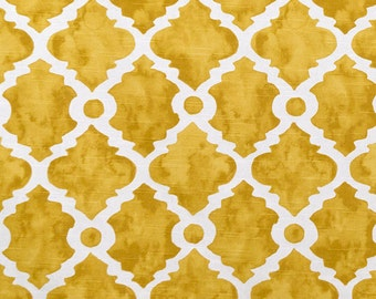 1 yard Madrid -  Golden Rod Ivory Deep Yellow Macon - Quatrefoil, Trellis, Lattice, Moroccan,- Premier Prints -  Home Decor