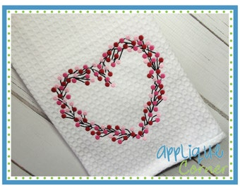 INSTANT DOWNLOAD Valentine's Day Heart Grape Vine Wreath applique design in digital format for embroidery machine by Applique Corner