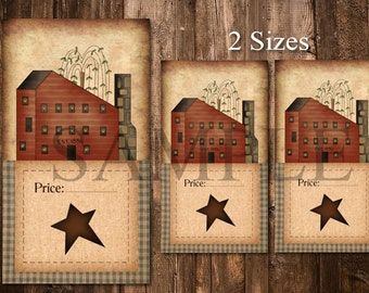 Printable Primitive Hang Tags - Digital Price Tags - Saltbox House