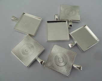 10 x 20mm Silver plated SQUARE pendant trays