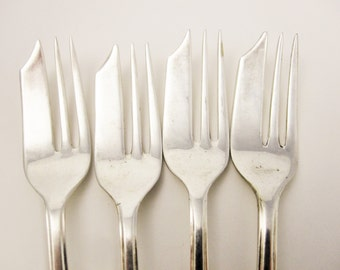 Four Pastry Forks - Vintage - M.S. Ltd. Silverplate, Sheffield, England -  Weddings - Parties - Receptions - Mix and Match - 42