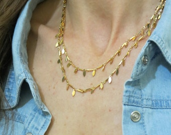 Double layered chain necklace / multi gold chain necklace / gold teardrop necklace