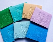Hand made cards- Mini Cards - Owl - Owls - Embossed - set of 20 - Mini Note Cards - Multicolor - white envelopes - Tent style