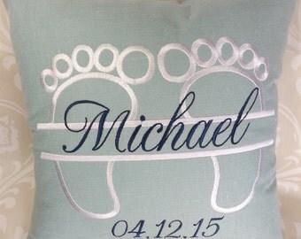 Birth Announcement Pillow, baby pillow,