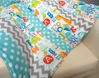 SALE Baby Playmat, Padded Floor Blanket, Travel Play Pad, Baby Quilt, Tummy Time Mat, Childs Playmat, Activity Blanket, Thick Playmat, Gift