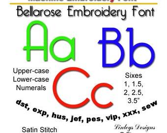 Download Machine Embroidery Alphabet: Bellarose  Font.