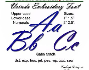 Download Machine Embroidery Alphabet: Vrinda Font.