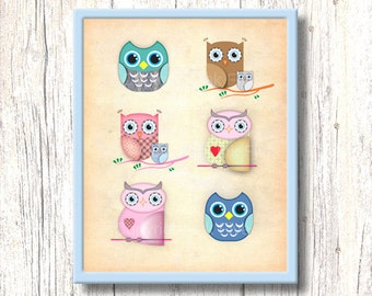 Owls - printable nursery art decor. Kids room wall art. 8x10 inch cute character. Birds images for children. Instant digital download