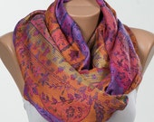 PURPLE and ORANGE. Spring Scarf or Shawl or Neck Wrap. Mothers Days Scarf. Spring scarf wrap. New Season.
