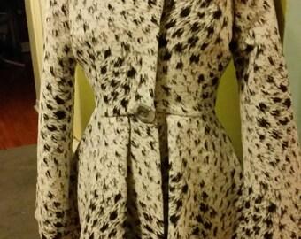 Leapard wool hooded coats