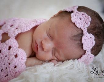 crochet photo prop Pink Doily Blanket and headband set- size newborn or 0-3m