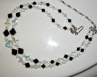 Vintage DOUBLE STRAND Crystal Choker Austrian Crystal Necklace Madmen Era Aurora Borealis w Black Crystals Bead Choker Necklace