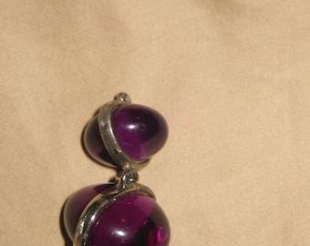 Purple Lucite Bauble Necklace and Earrings Set Retro Vintage Mod Purple Lucite Pendant Matching Set