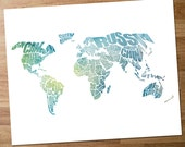 World Word Map - A typographic word map of the Countries of the World with a Blue and Green Watercolor Overlay - INSTANT DOWNLOAD