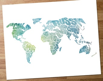 World Word Map - A typographic word map of the Countries of the World with a Blue and Green Watercolor Overlay