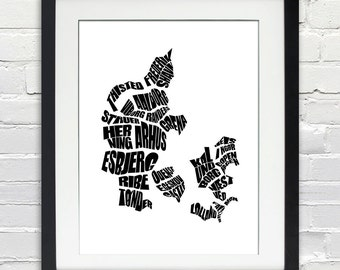 Denmark Word Map - A typographic word map of Cities of Denmark, Home Decor, Black and White, Canvas or Print, Moving Gift, Danish Map Art