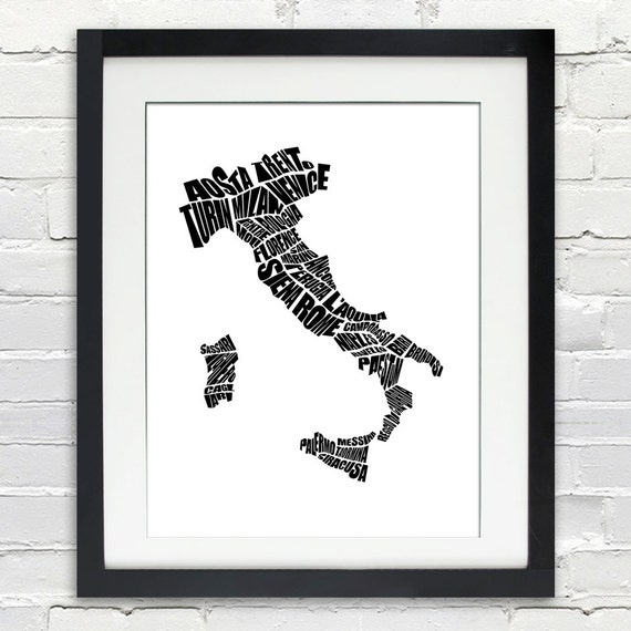 Italy Word Map A Typographic Word Map Of Italian Cities - Map of italian cities