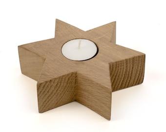 Star Candle Holder Oak