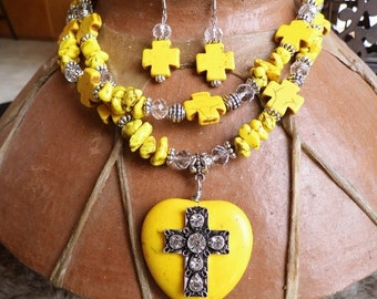 Chunky western rhinestone cross and yellow magnesite heart necklace and earring set