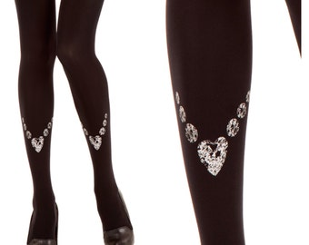 Grey Bling-Bling print on black designed tights | art on tights | free shipping |