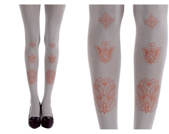 Orange Bombay Nights on grey designed tights | Tattoo Tights | Oriental Tights | Free Shipping