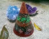Orgone Cone Pyramid // Green Patina and Crimson Rhodonite Labradorite Copper Orgone Generator
