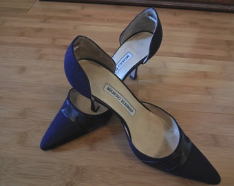 Vintage 90s Manolo Blahnik Shoes in Navy Linen accented with Black Leather Trim SALE