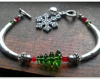 Swarovski Crystal Christmas Tree Bracelet With Snowflake and Bell Bracelet