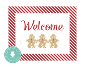 INSTANT DOWNLOAD Gingerbread Welcome Sign (Cookie Decorating Party, Cookie Exchange, Gingerbread Party, Printable Gingerbread Welcome Sign)
