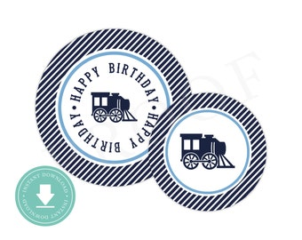 INSTANT DOWNLOAD Train Party Circles (Train Birthday Decor, Printable Party Circles, Printable Train Decorations, Preppy Train, Red)