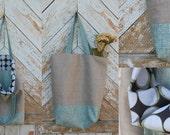 Linen bag. Turquoise rainbow. Everyday.