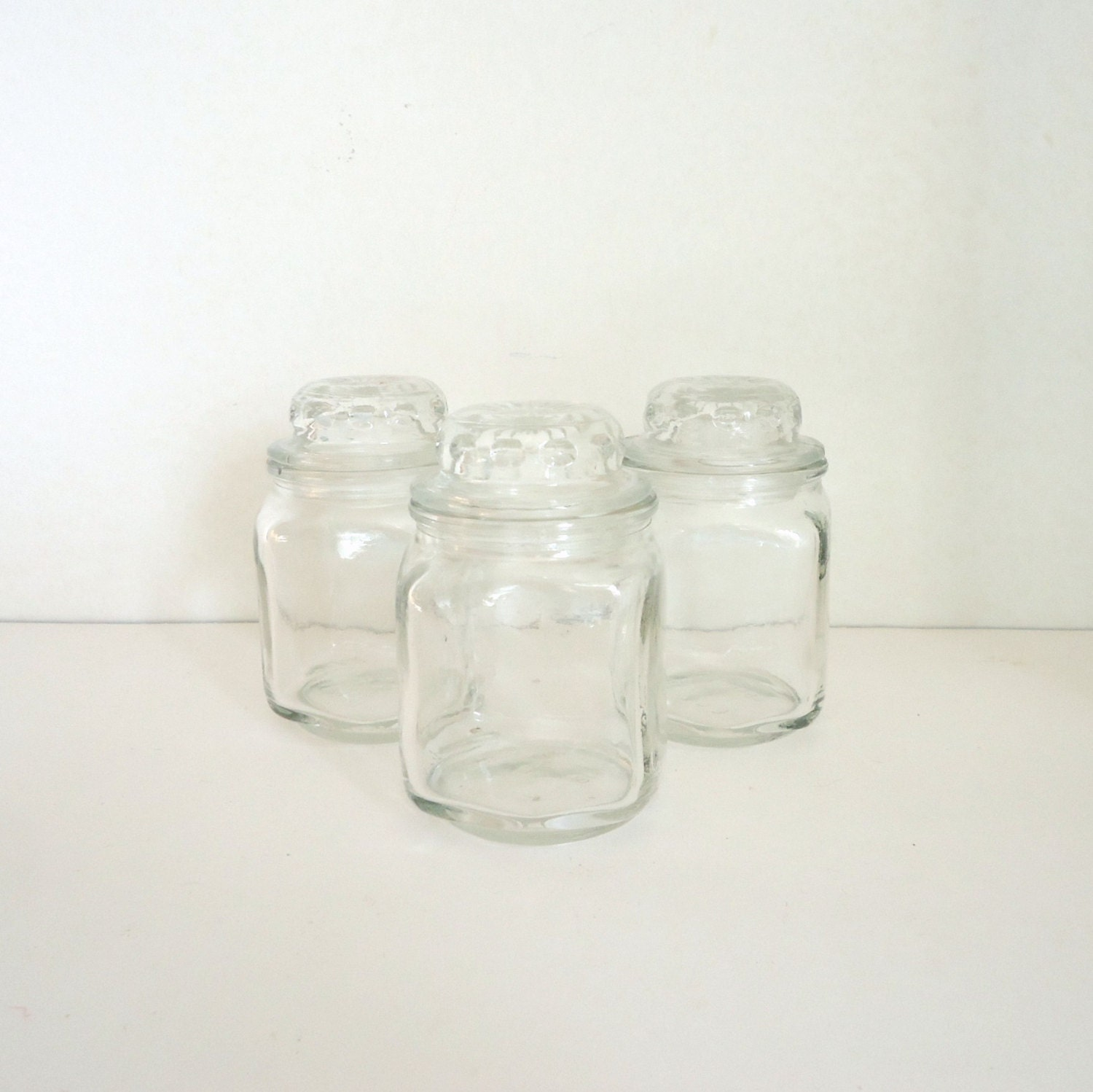 Vintage apothecary jars with lids kitchen storage by for Small bathroom jars