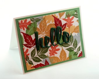 Autumn leaves thinking of you card, Hello, fall colors blank card, green, gold, rust