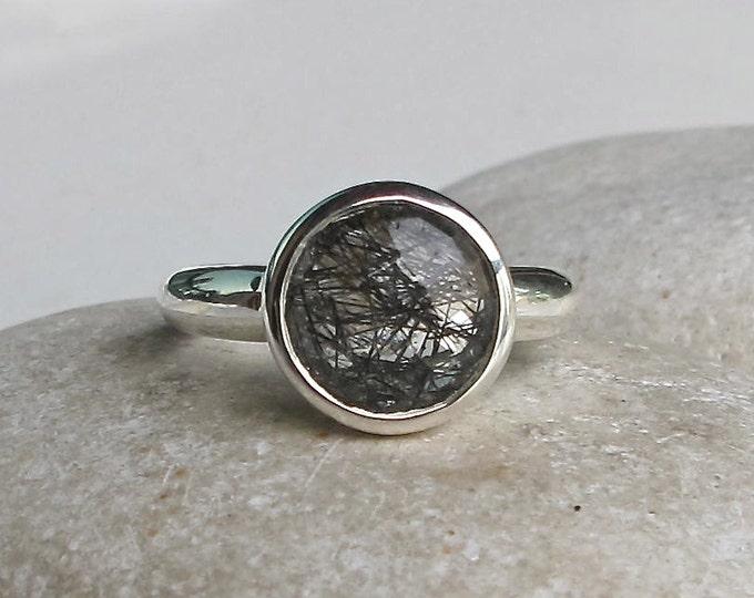 Round Black Rutile Ring- Rutilated Quartz Ring- Tourmalated Quartz Ring- Black Rutile Ring- Unique Stackable Gemstone Ring- Faceted Ring